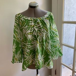 Banana Republic green/white palm print tunic, SzXL